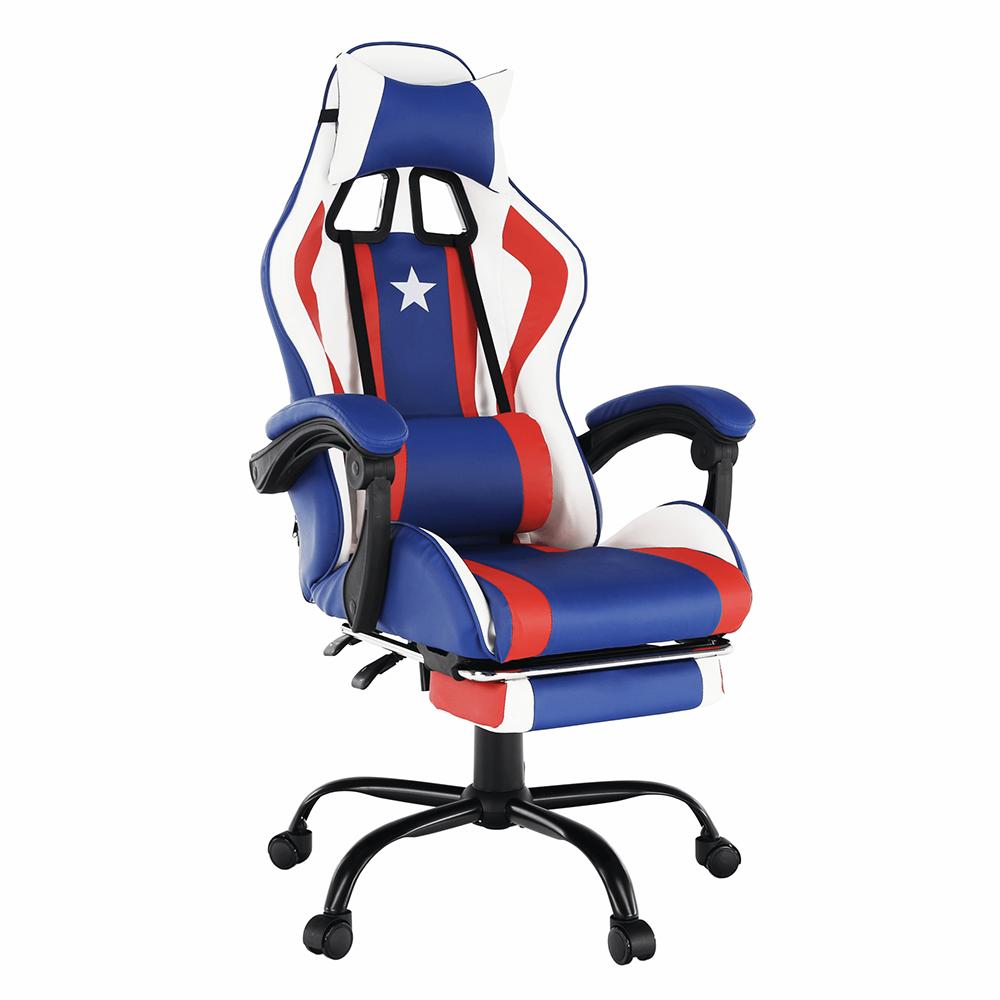 Scaun de birou / joc, albastru / roşu / alb, CAPITAN