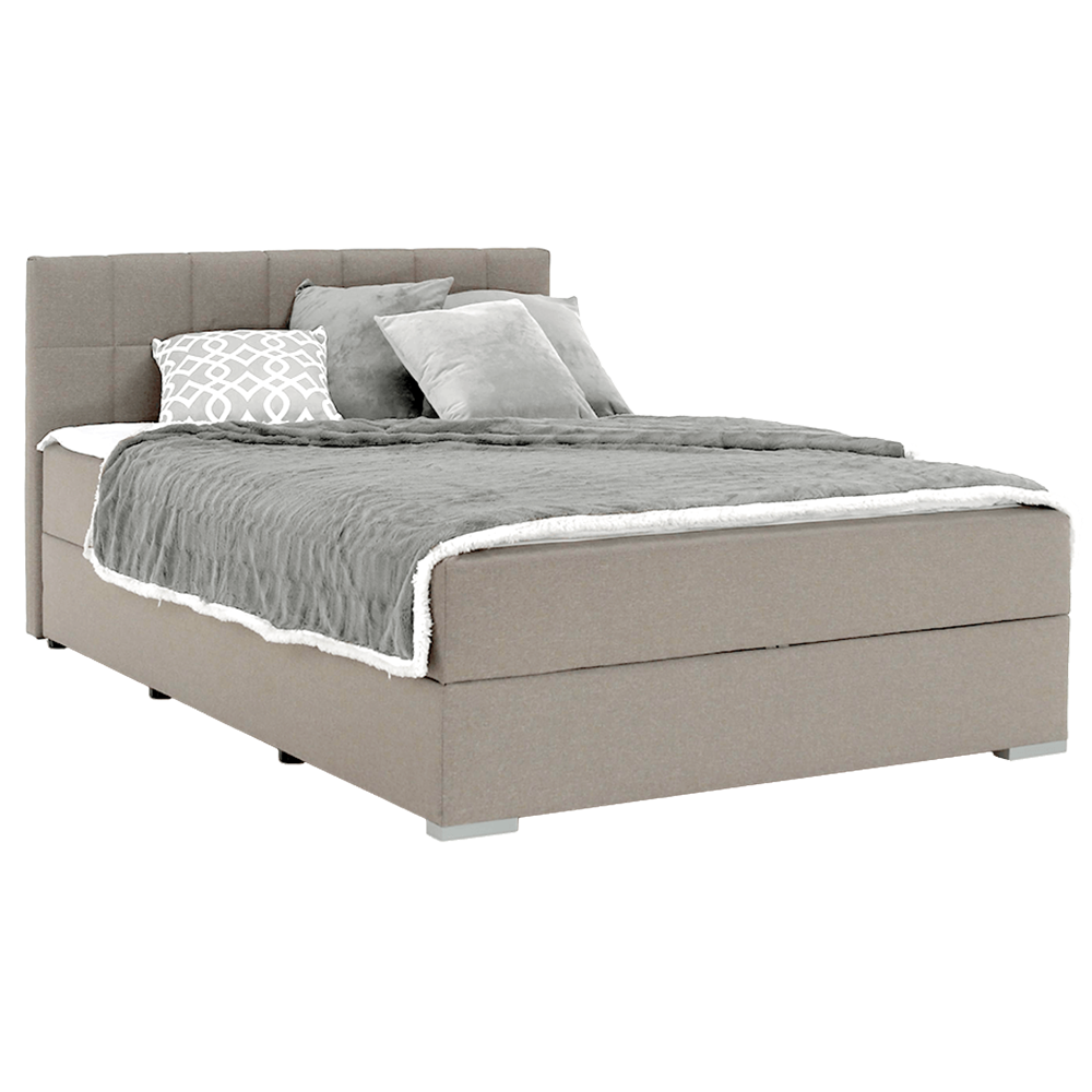Boxspring típusú ágy 140x200, szürkésbarna taupe, FERATA TV KOMFORT