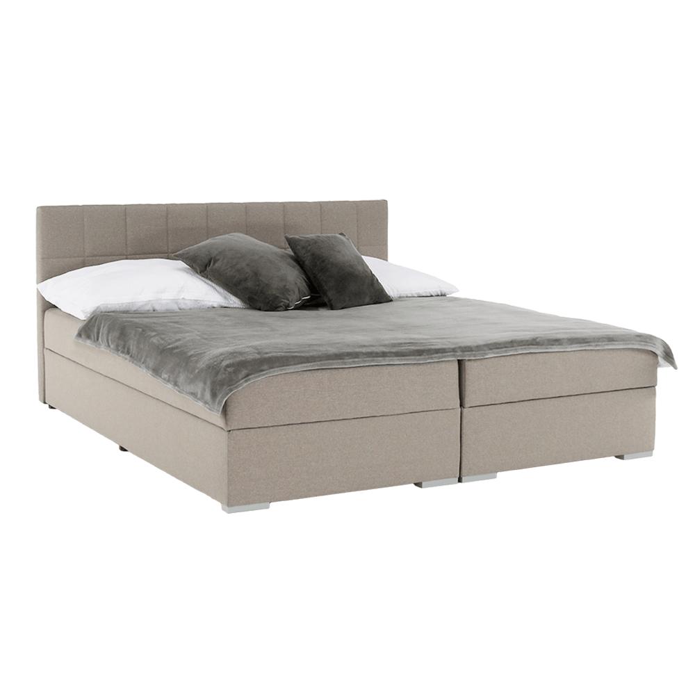 Boxspring típusú ágy 160x200, szürkésbarna taupe, FERATA TV KOMFORT