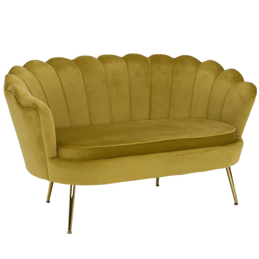 Pad Art-deco stílusban, mustár színűVelvet anyag/gold chróm-arany, NOBLIN