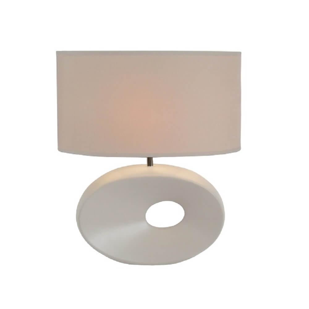 Keramická stolná lampa, biela, QENNY TYP 9 AT09115, poškodený otvar