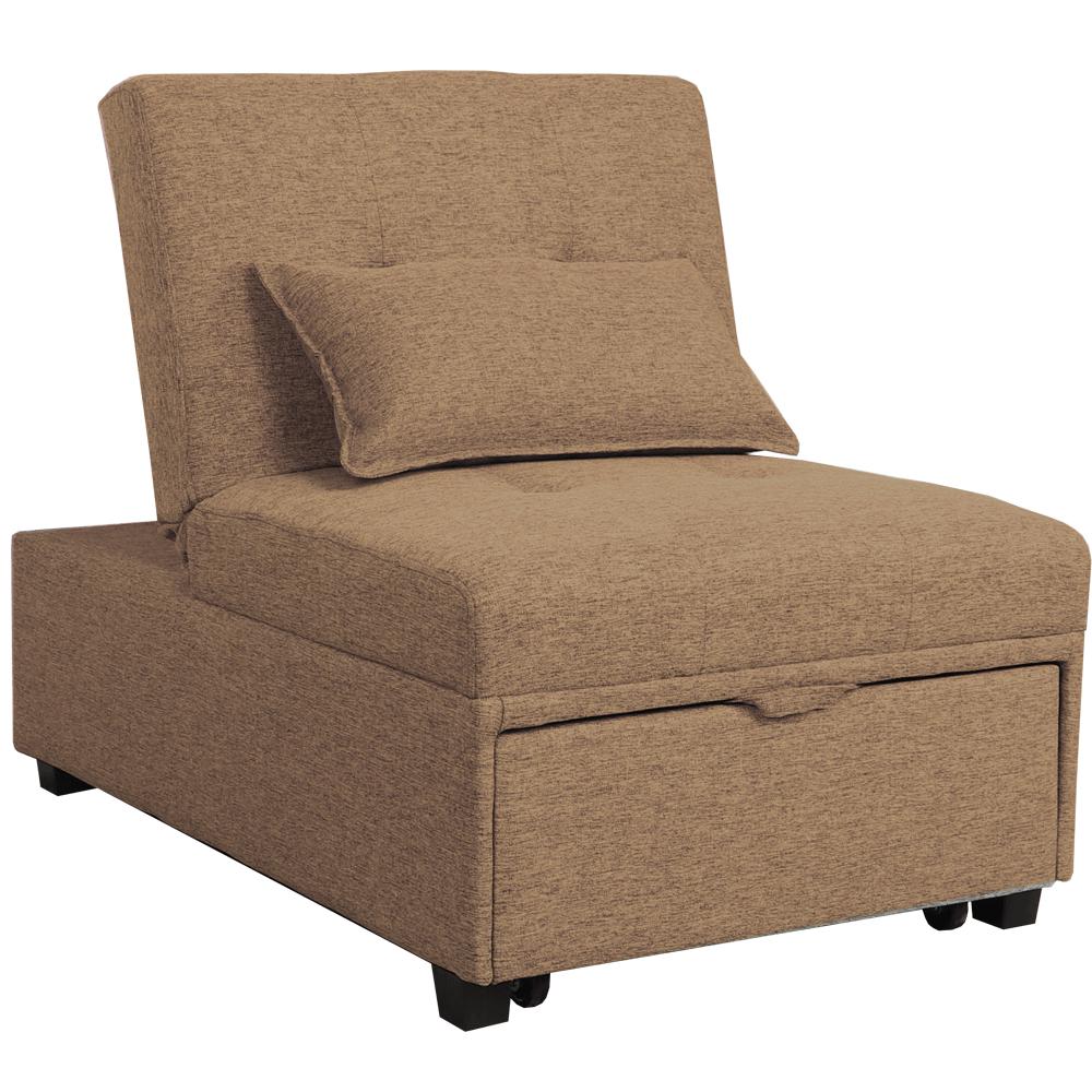 Fotel ágyfunkcióval, barna anyag, OKSIN