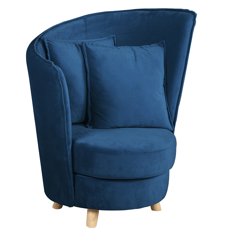 Fotoliu în stil Art Deco, catifea Velvet albastru /stejar, ROUND