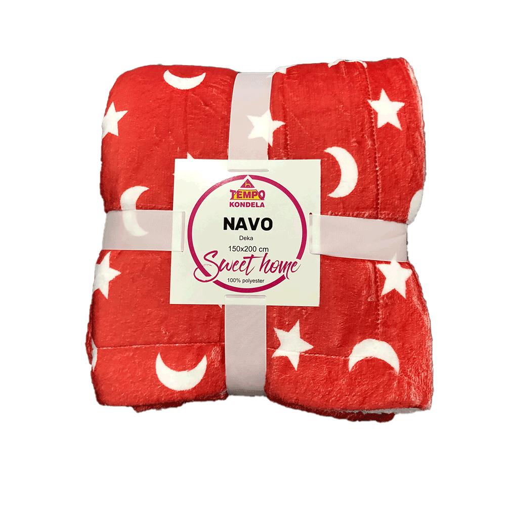 Pătură cu două feţe imitaţie miel, oxy fire roşu/alb/model, 150x200, NAVO