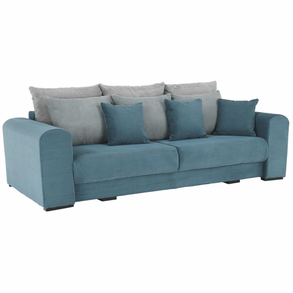 Canapea foarte spaţioasă, albastru, mentol, gri deschis, GILEN BIG SOFA