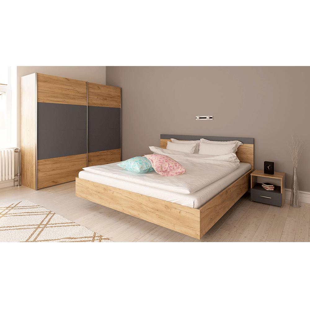 Set dormitor (Pat 160x200 cm), stejar artisan/grafit, GABRIELA