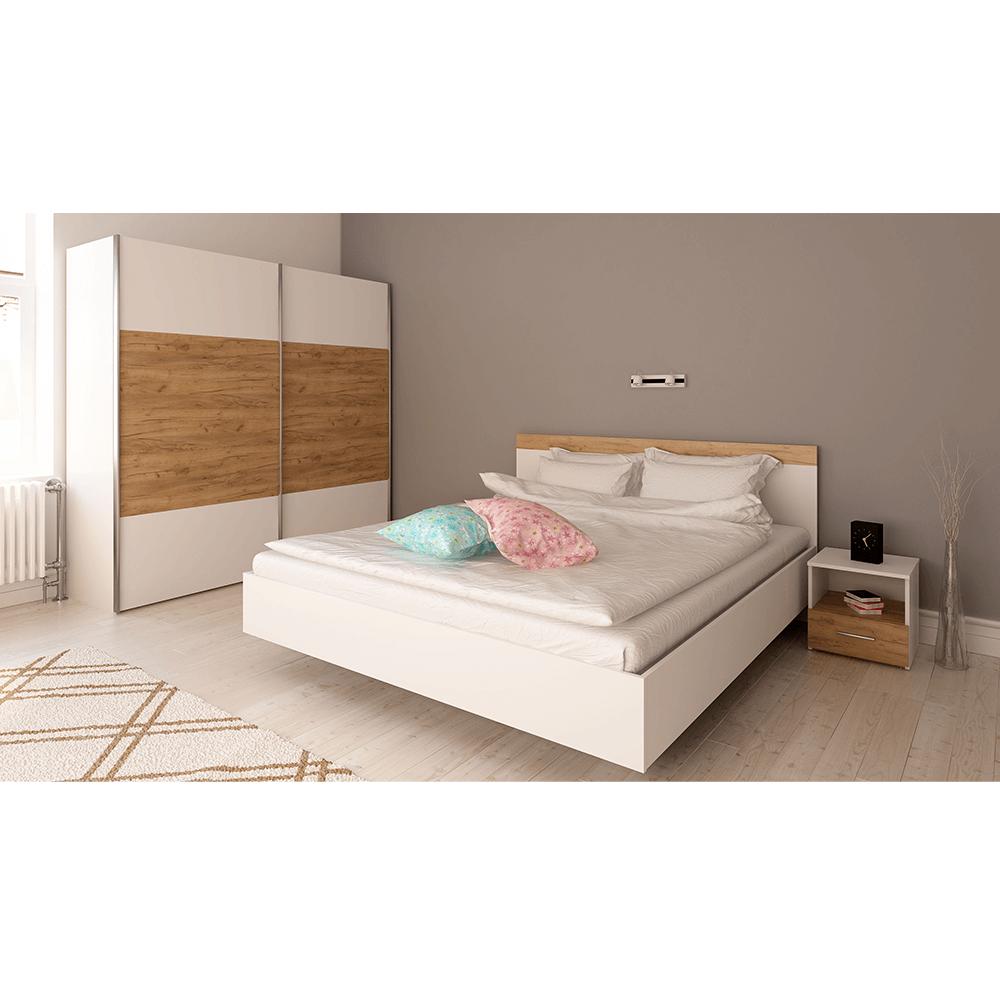 Hálószoba garnitúra (Ágy 160x200 cm), fehér/artisan tölgy, GABRIELA