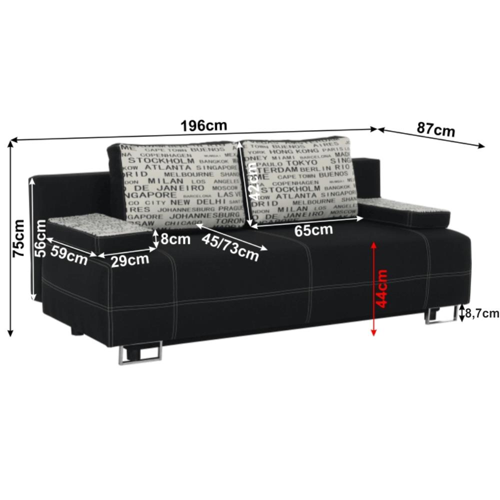 Kanapé ágyfunkcióval savana fekete/díszpárna minta, ELIZE