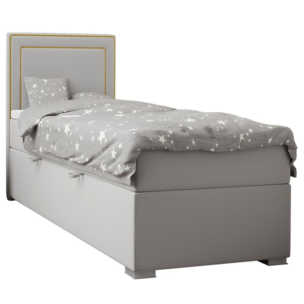 Boxspring ágy, egyszemélyes, világosszürke, 90x200, balos, BILY