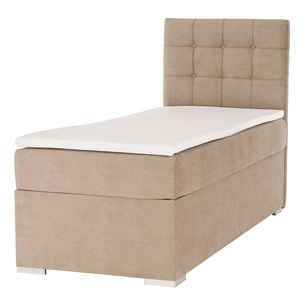 Boxspring ágy, egyszemélyes, világosbarna, 90x200, jobbos, DANY