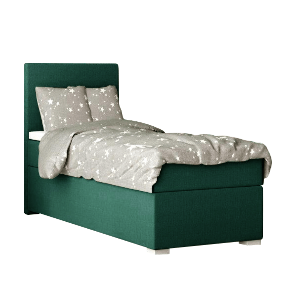 Pat boxspring, pat de o persoană, verde, 80x200, stânga, SAFRA