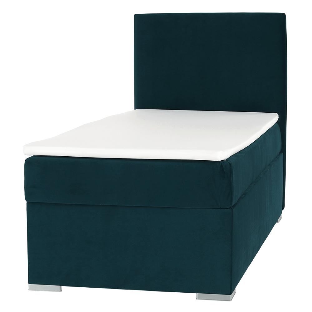 Boxspring ágy, egyszemélyes, zöld, 90x200, jobbos, SAFRA