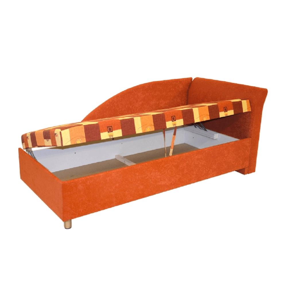 Váľanda s úložným priestorom, pravá, molitanová, 90x200 cm, PERLA