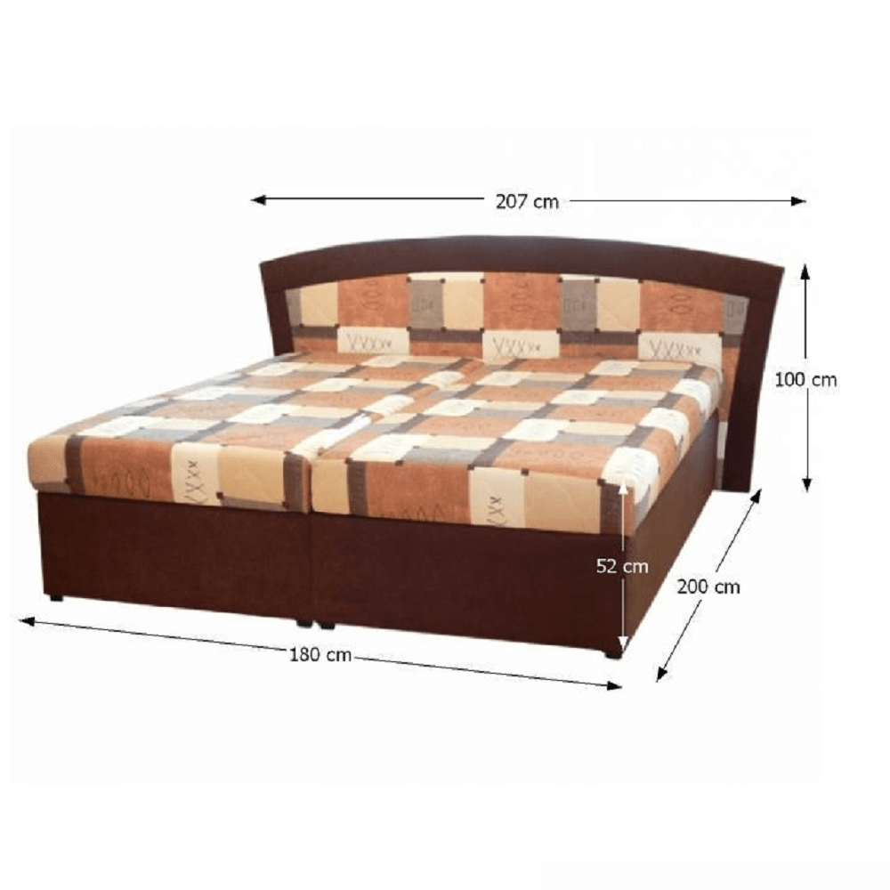 Dupla ágy, szendvics, barna, RONA